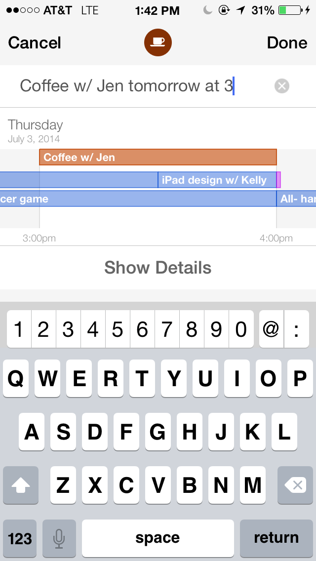 Tempo Smart Calendar 1.4 for iOS (Natural Language Processing, iPhone screenshot 002)