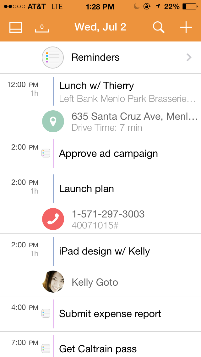 Tempo Smart Calendar 1.4 for iOS (Reminders, iPhone screenshot 001)