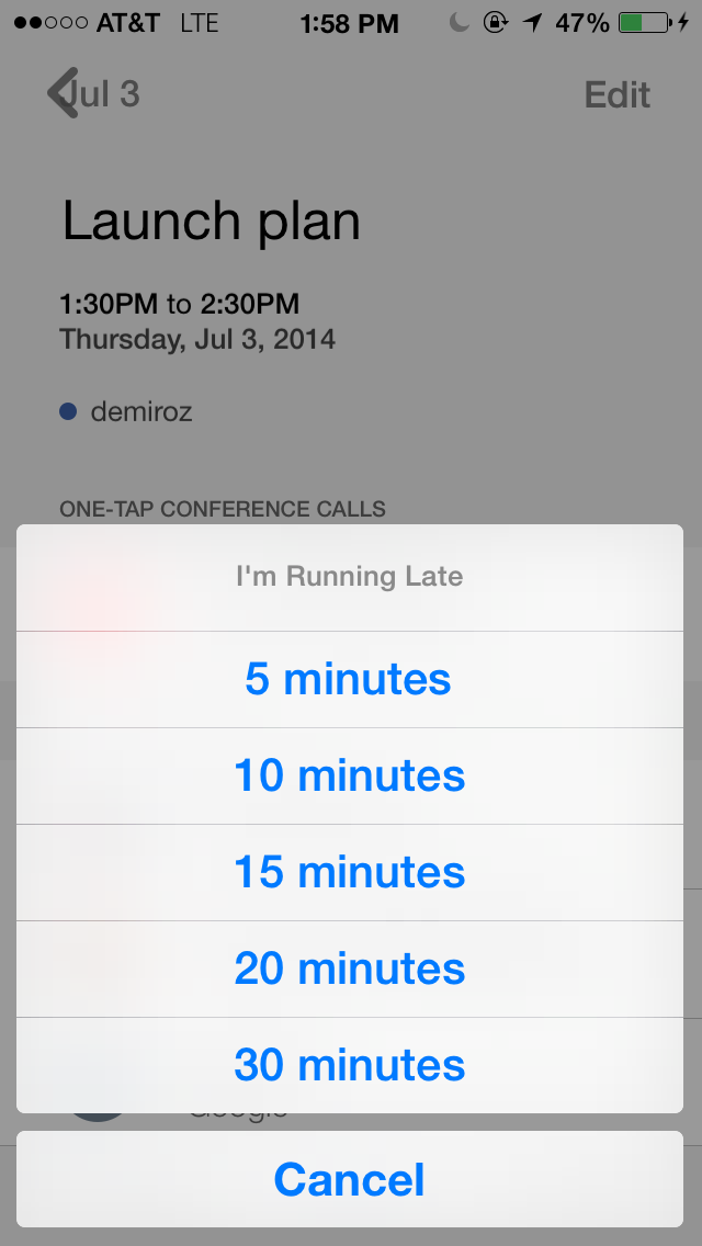 Tempo Smart Calendar 1.4 for iOS (Running Late, iPhone screenshot 003)