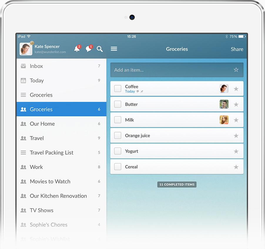 Wunderlist 3 (iPad teaser 001)