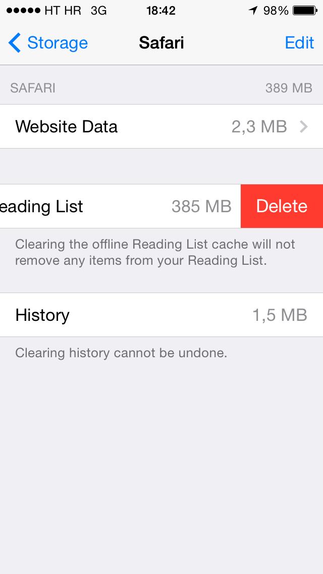iOS 7 (Safari, Lista de lectura sin conexión, Eliminar 001)