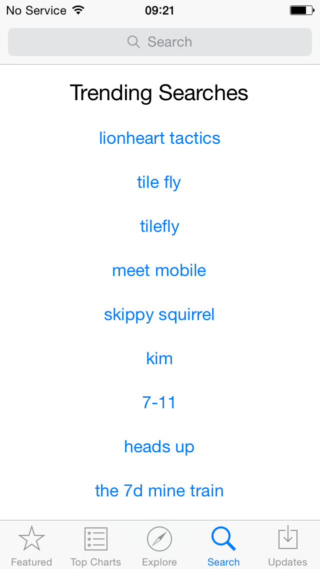 iOS 8 (App Store, Trending searches 001)