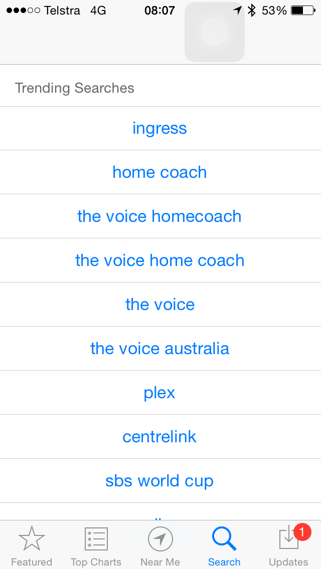 iOS 8 (App Store, Trending searches 002)