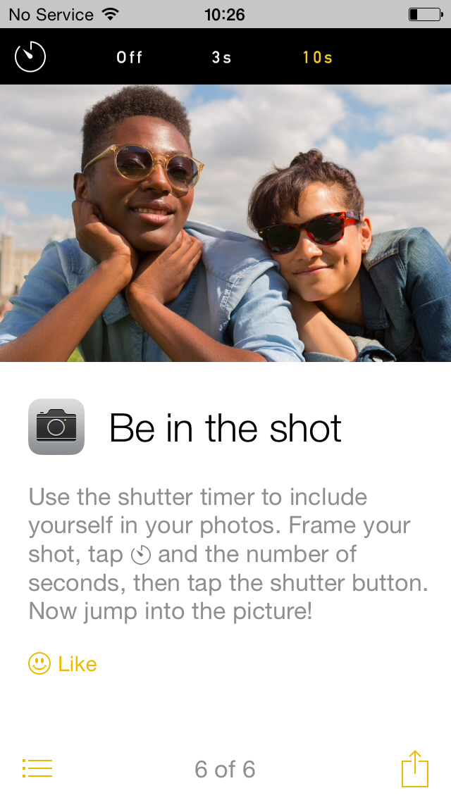 iOS 8 tip be in shot