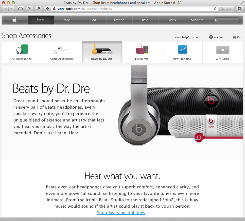 Beats section on Online Apple Store