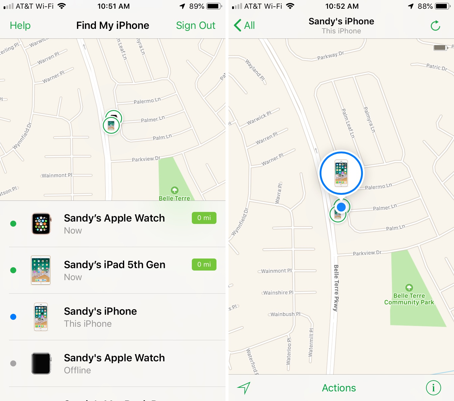 Find My iPhone Device List and Map iPhone