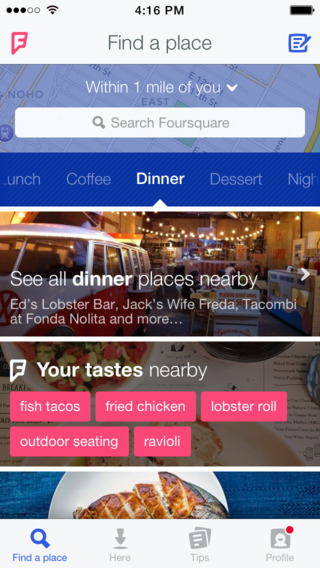 Foursquare 8.0 for iOS (iPhone screenshot 001)