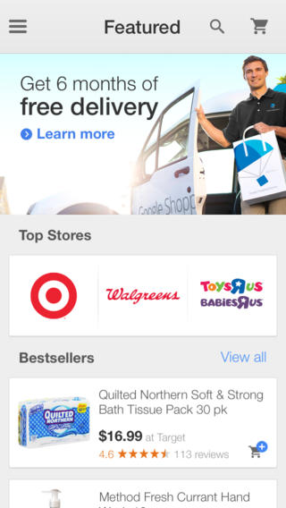 Google Shopping Express 2.0 for iOS (iPhone screenshot 002)