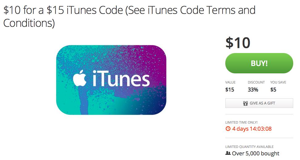 Groupon (iTunes Gift Card deal)