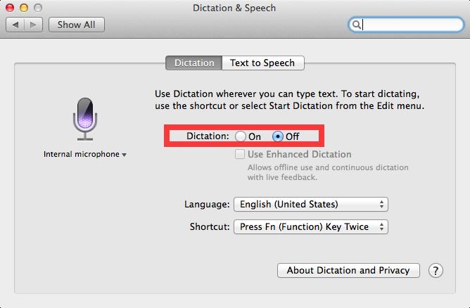 OS X Mavericks (how to Enhanced Dictation, System Preferences, Dictation and Speech 002)