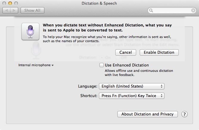 OS X Mavericks (how to Enhanced Dictation, System Preferences, Dictation and Speech 003)