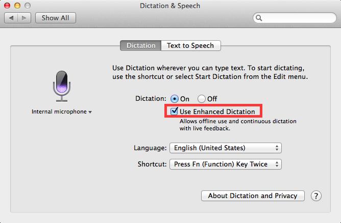 OS X Mavericks (how to Enhanced Dictation, System Preferences, Dictation and Speech 004)