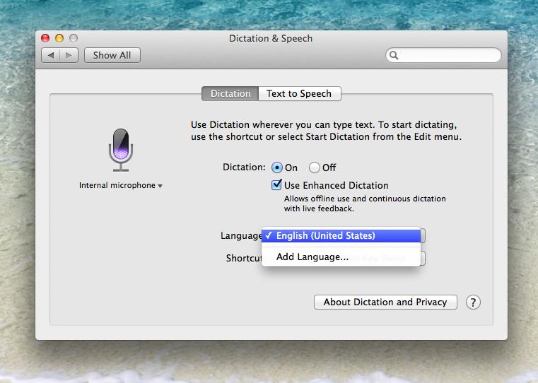 OS X Mavericks (how to Enhanced Dictation, System Preferences, Dictation and Speech 006)