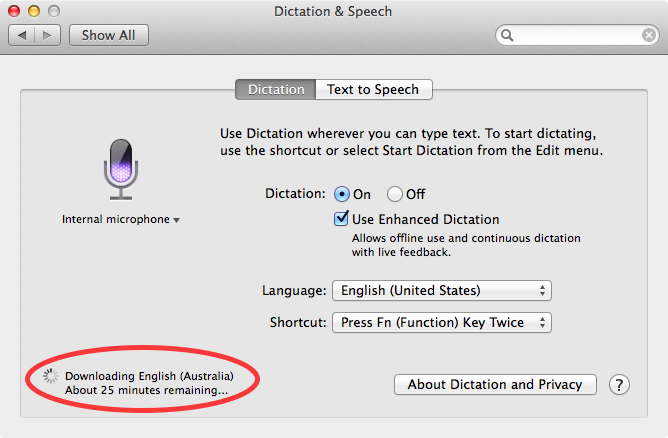 OS X Mavericks (how to Enhanced Dictation, System Preferences, Dictation and Speech 010)