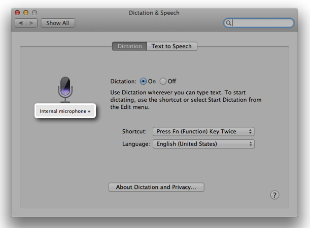 OS X Mavericks (how to Enhanced Dictation, System Preferences, Dictation and Speech 012)