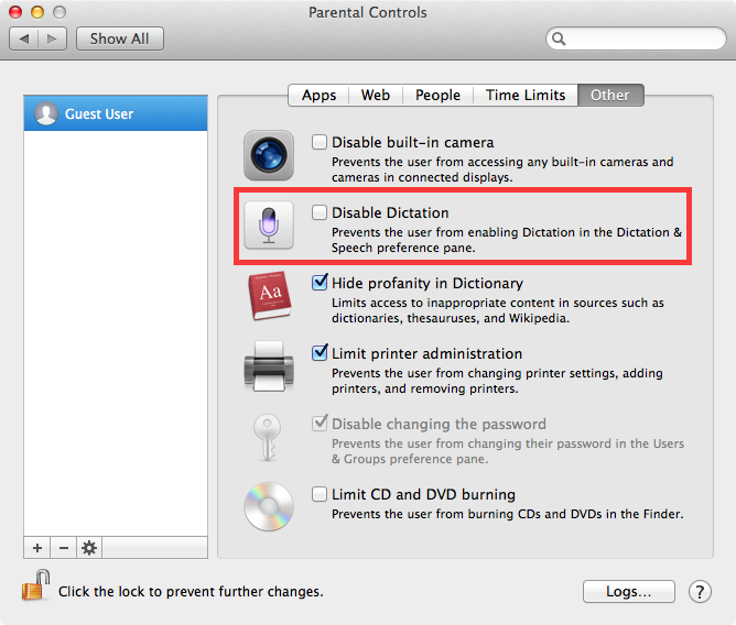 OS X Mavericks (how to Enhanced Dictation, System Preferences, Parental Controls, Disable Dictation 001)