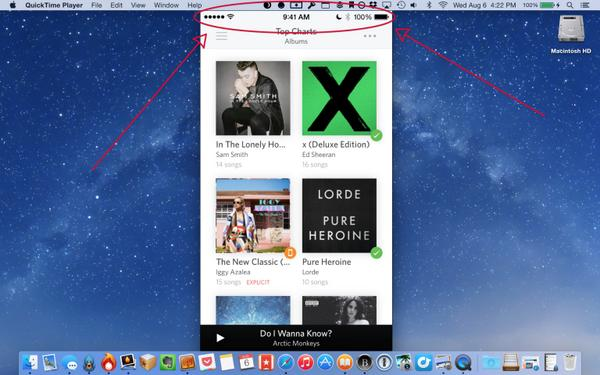 OS X Yosemite (QuickTime iOS device screencast 001)