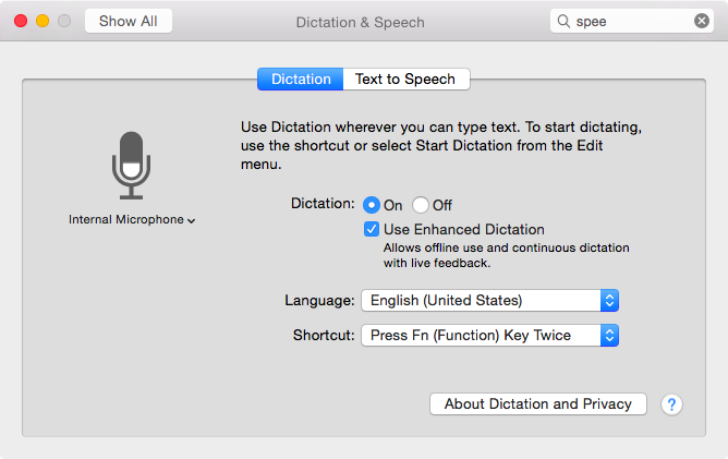 OS X Yosemite (how to Enhanced Dictation, System Preferences, Dictation and Speech 002)