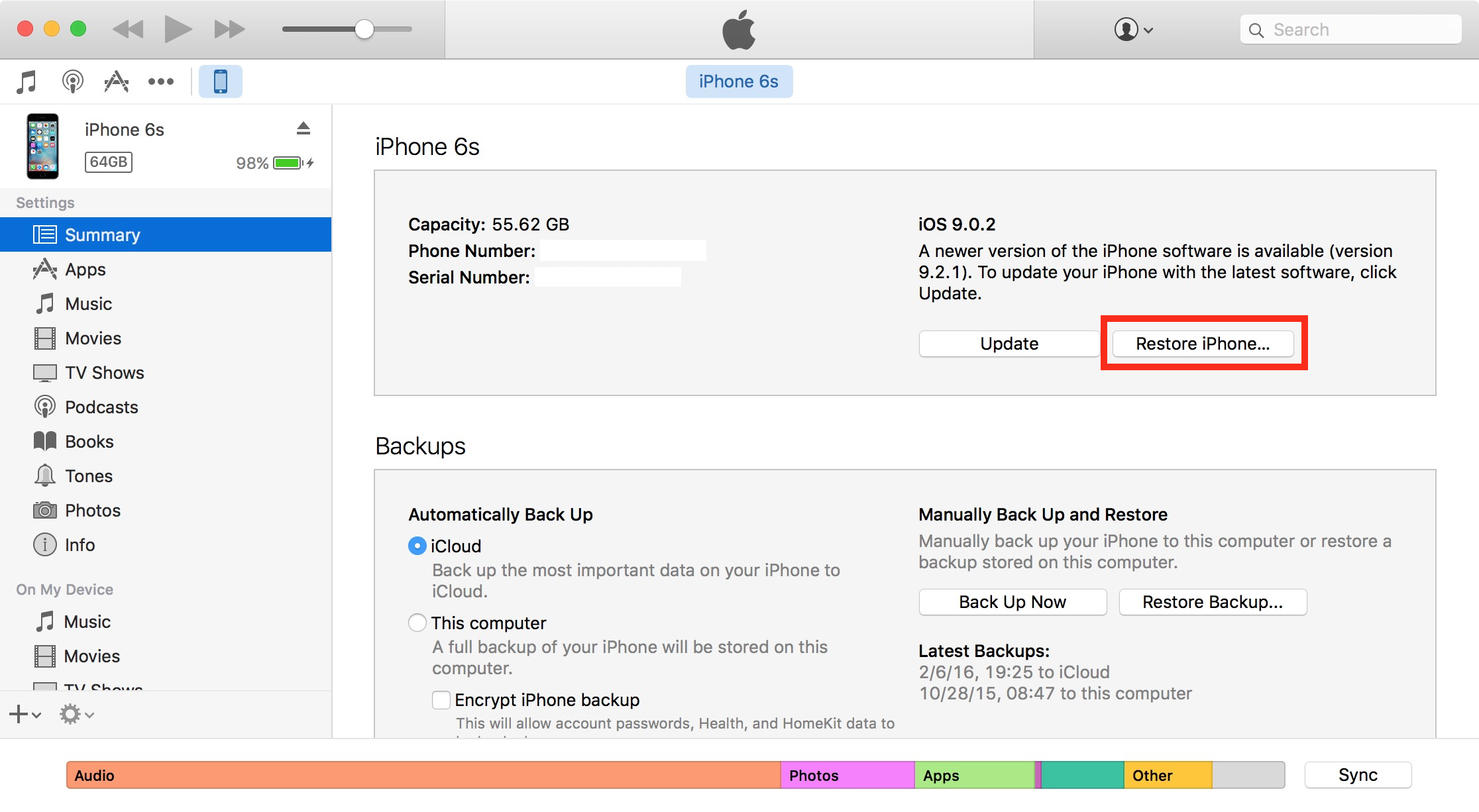 Restaurar iPhone en iTunes