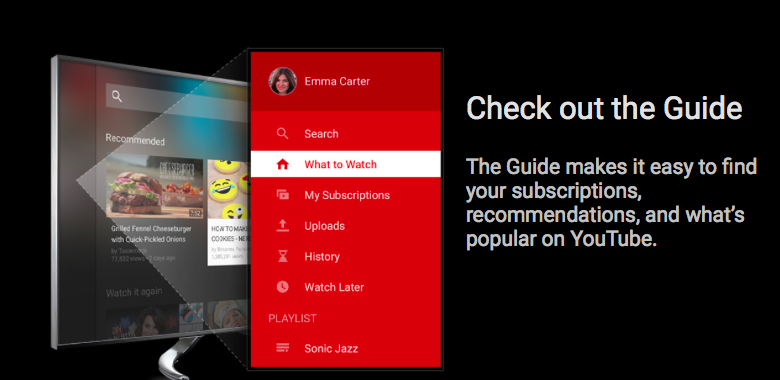 YouTube for TV (preview 001)