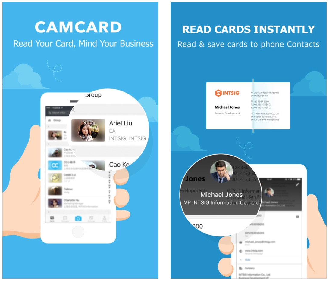 with this app you can take a picture of a physical business card and the information will be scanned into a contact folder so you can quickly save - Best Business Card Scanner