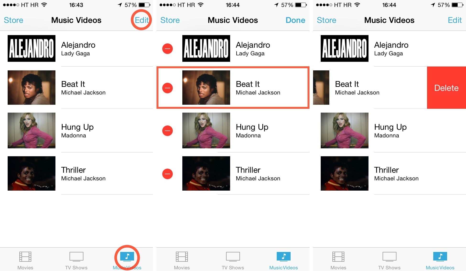 iOS 7 (how to delete Videos, Music Videos 002)