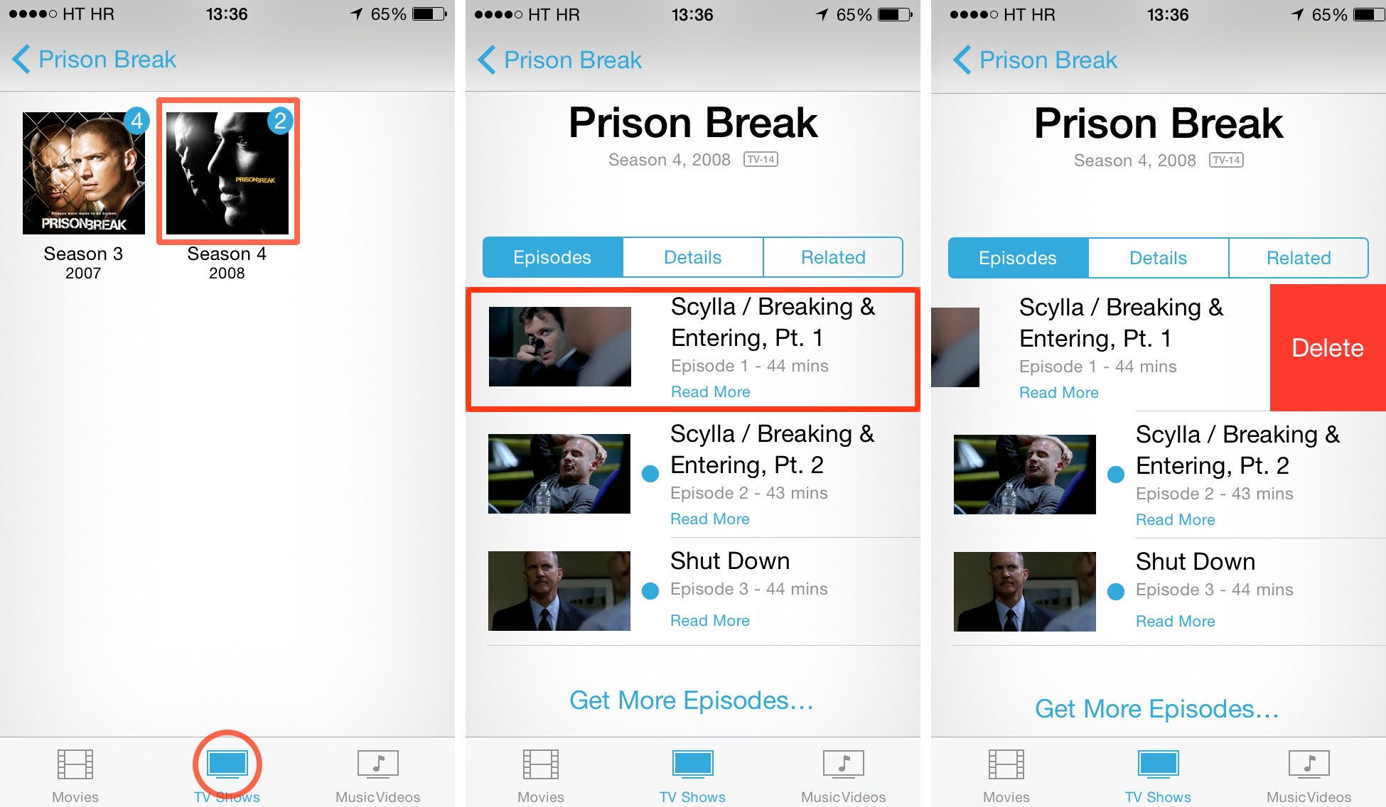 iOS 7 (how to delete Videos, TV Shows 001)