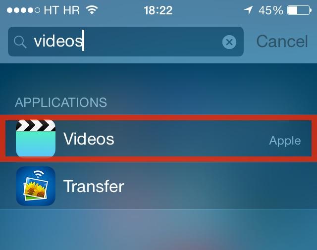 iOS 8 (Videos app in Spotlight)