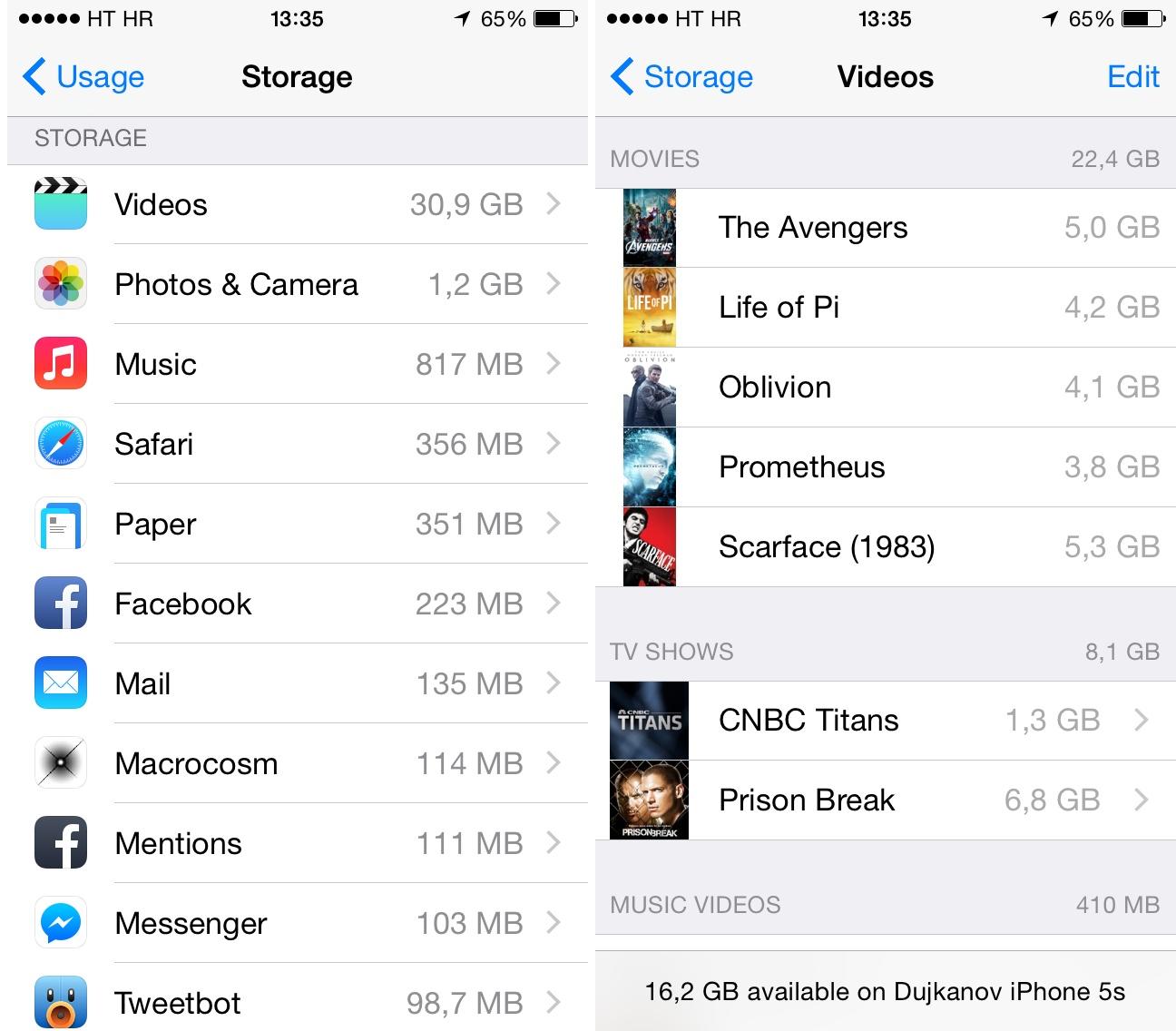 iOS 8 (how to delete Videos, Storage 001)