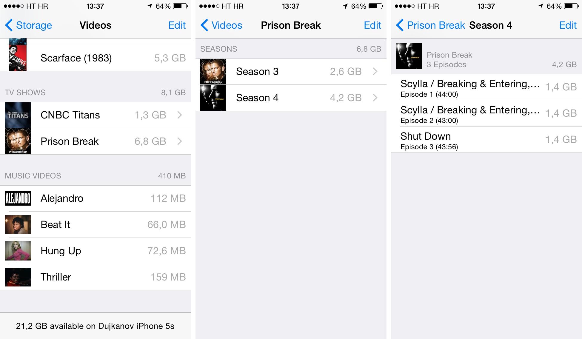 iOS 8 (how to delete Videos, Storage 003)