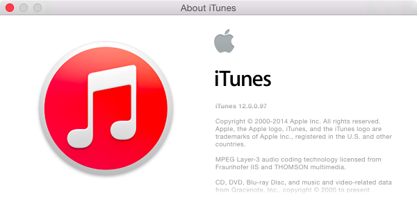 iTunes 12.0.0.97 Beta (About window)