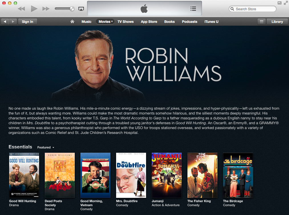 iTunes Store (Robin Williams tribute 001)