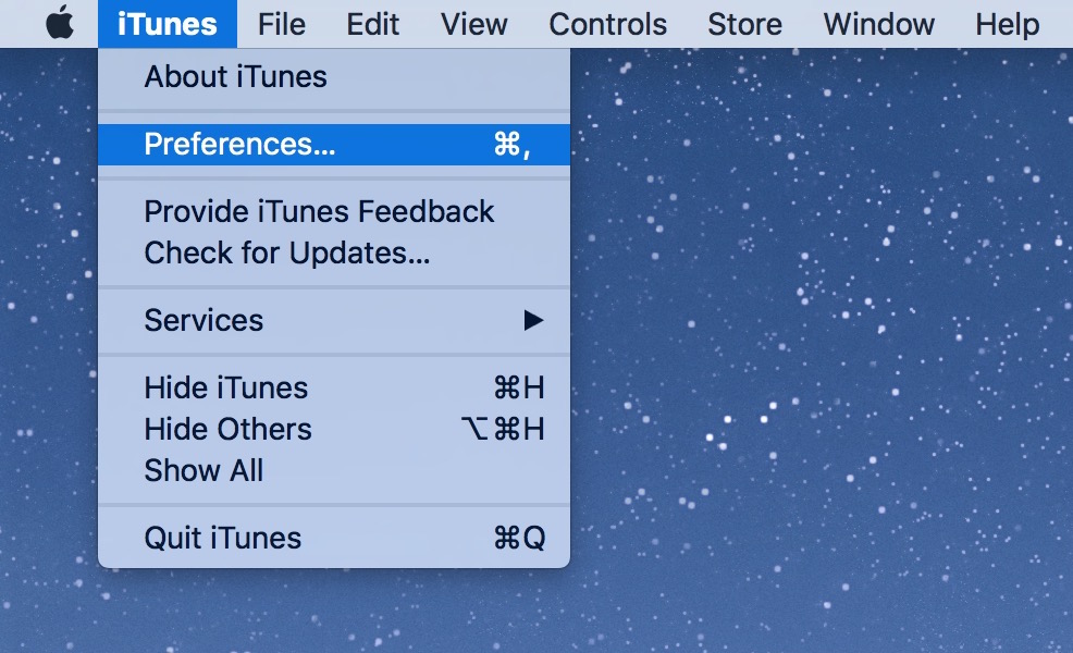 iTunes menu preferences