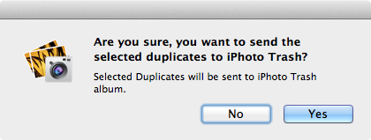 move duplicates to iphoto trash