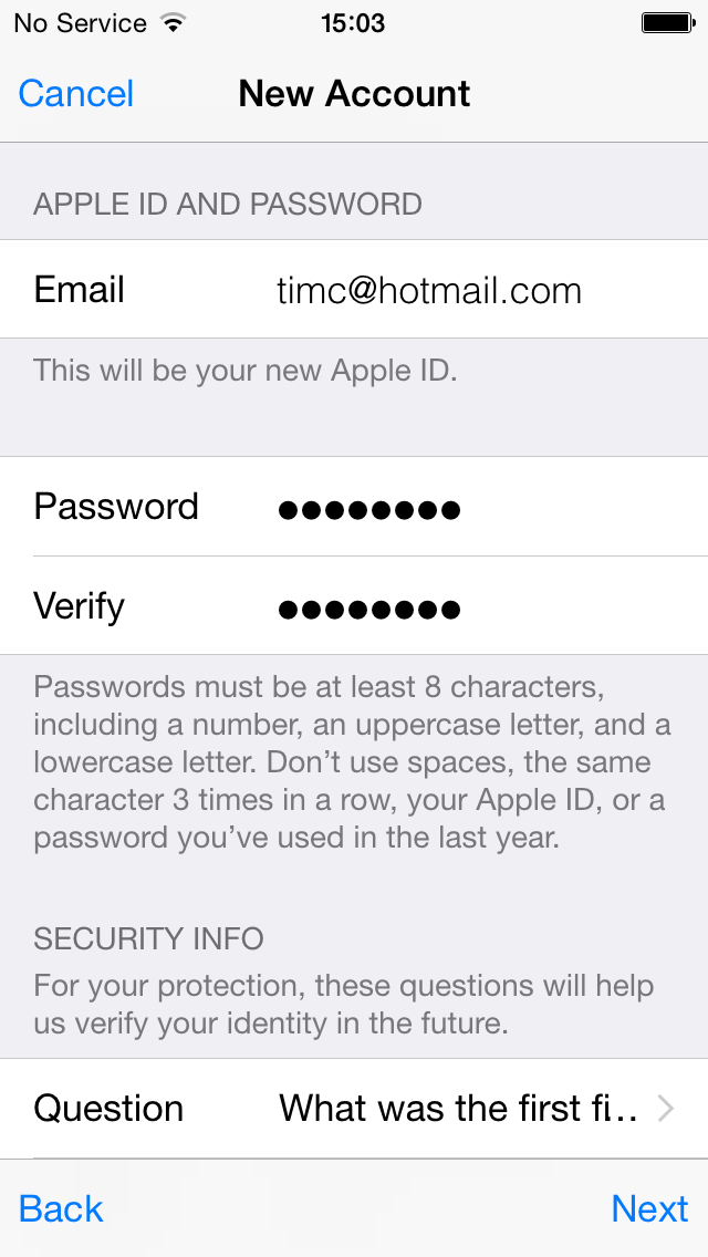 new apple id create account