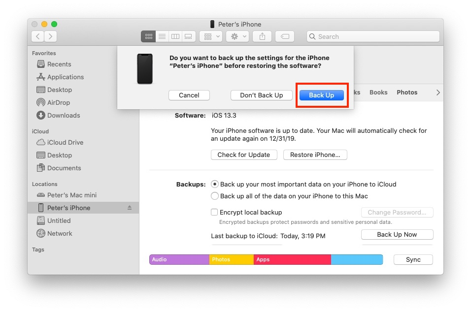 Restore iPhone without iTunes - Back up