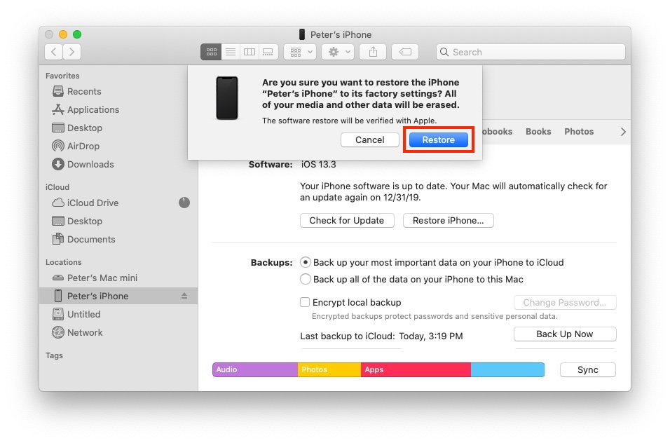 Restore iPhone without iTunes - Erase