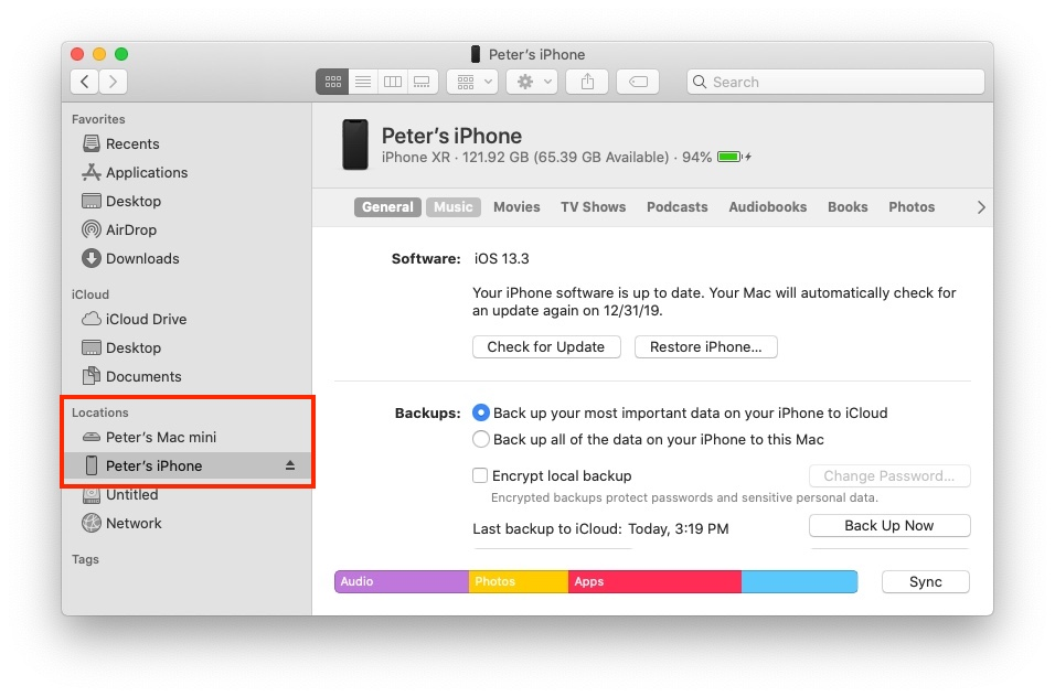 Restaurar iPhone sin iTunes - ubicaciones