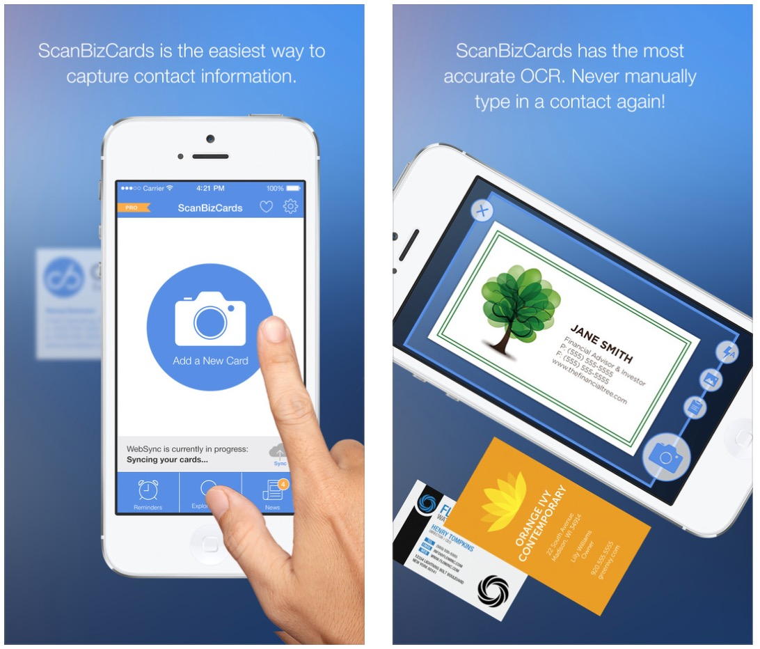 Best business card reader app iphone infocardco for Scan business cards into google contacts