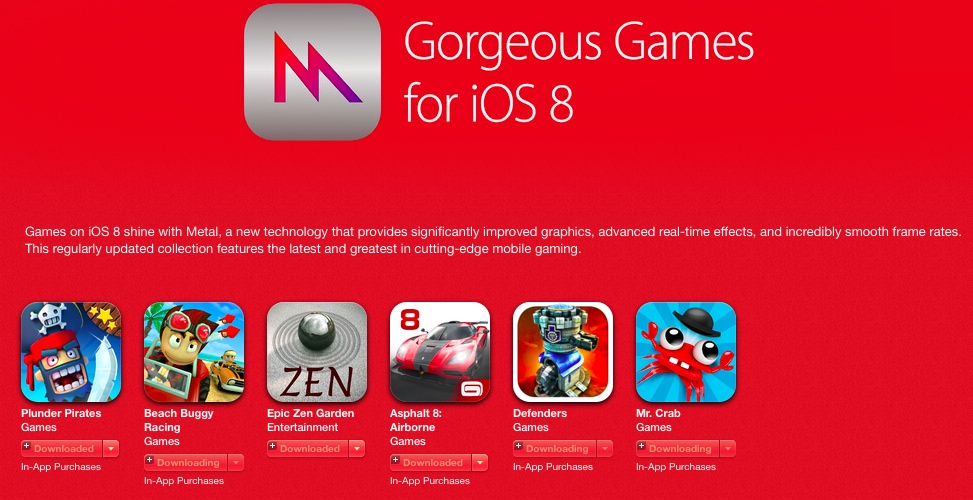 App Store section (Gorgeous iOS 8 games enhanced with Metal 001)