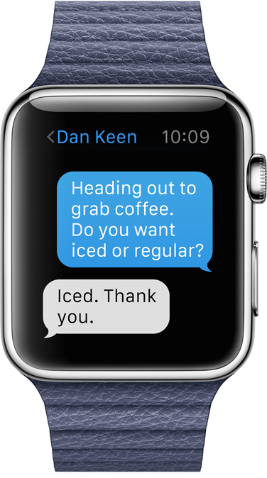 Apple Watch messages conversation