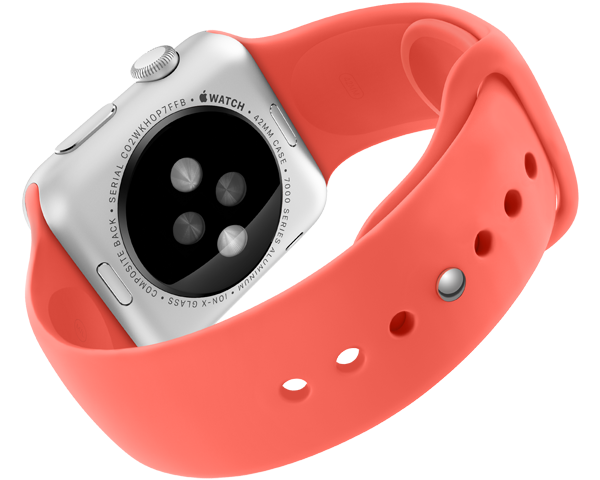 Apple Watch sport pink band back