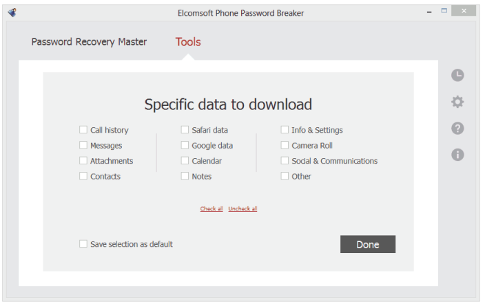 Elcomsoft Phone Passwrod Breaker (screenshot 001)