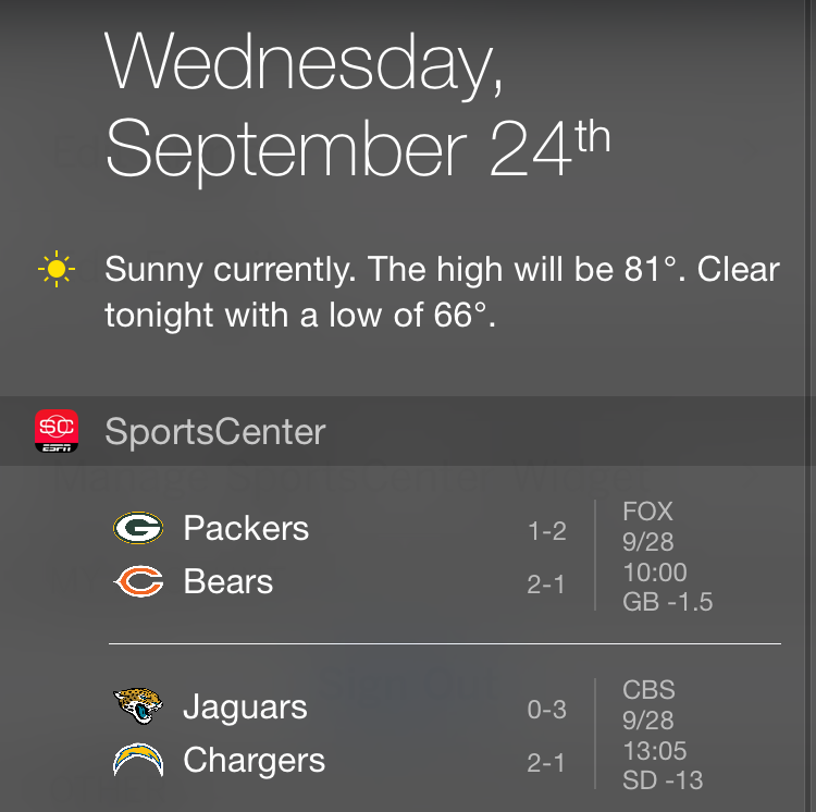 Espn sports center notification center widget