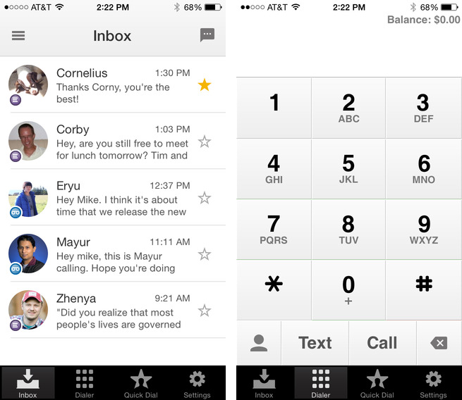 Google Voice 1.6 for iOS (iPhone screenshot 001)