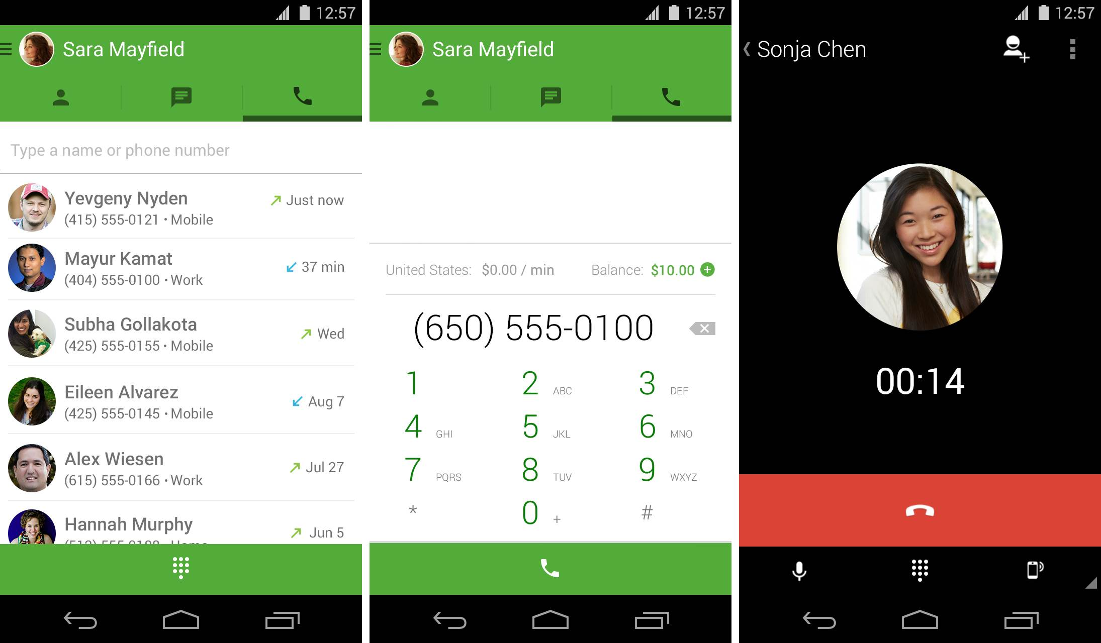 Hangouts 2.2 for iOS (Android screenshots)