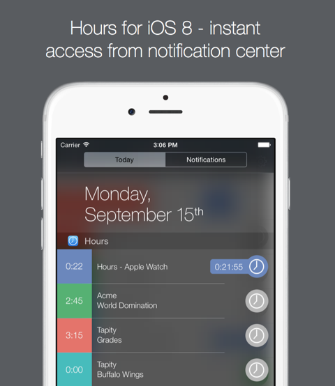 Hours for iPhone (iOS 8 Today widget 001)