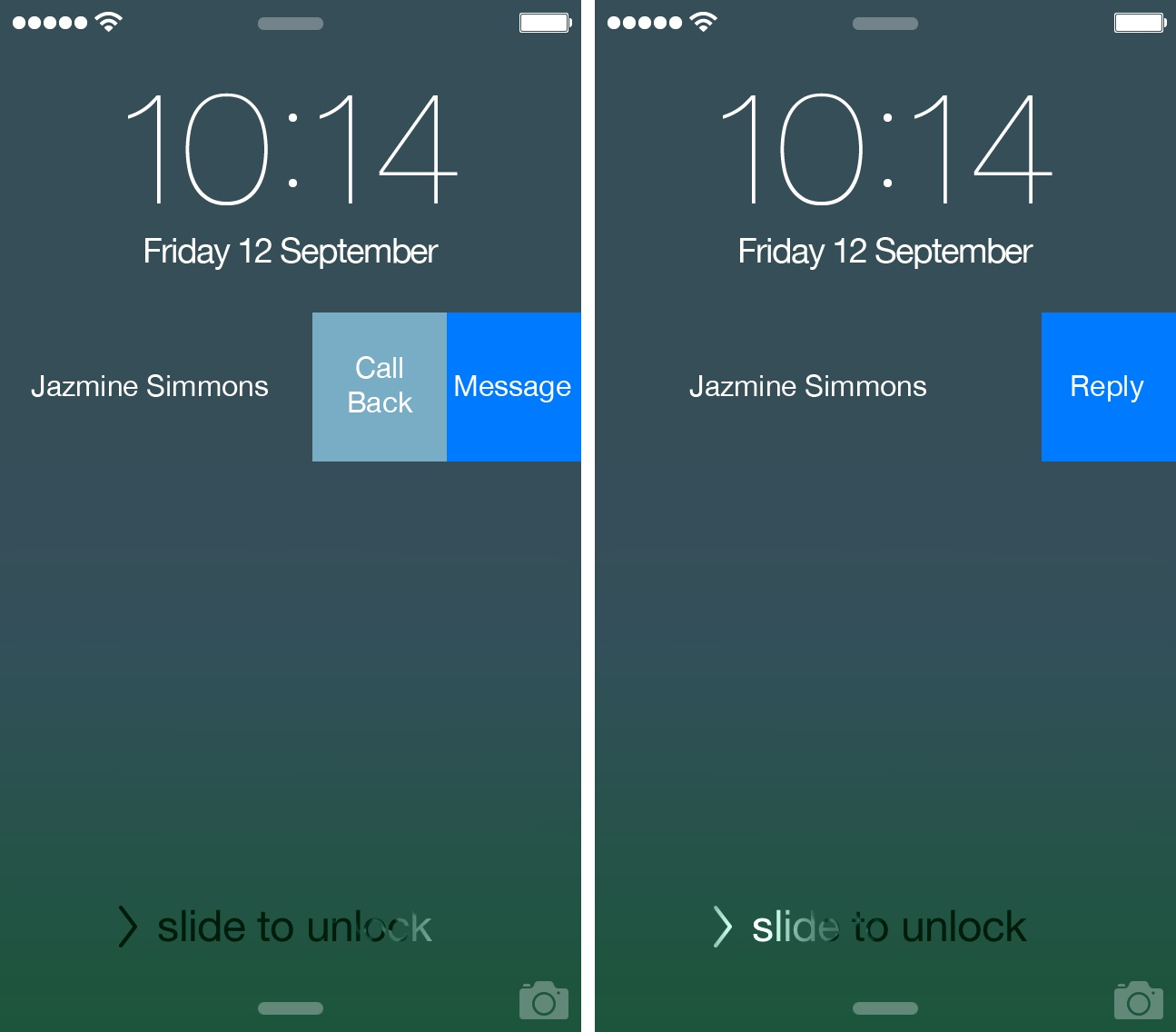 Skype 5.5 for iOS (Lock screen Interactive Notifications, iPhone screenshot 002)