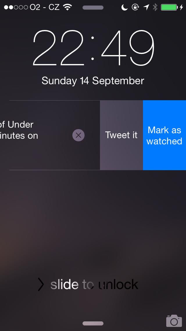 TeeVee 3.1 for iOS (iPhone screenshot, Interactive Notifications)