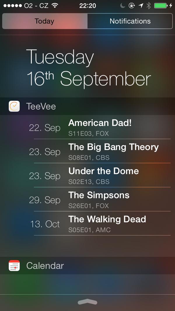 TeeVee 3.1 for iOS (iPhone screenshot, Today widget)